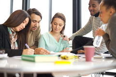 Giovani studenti universitari che fanno studio del gruppo Immagine Stock