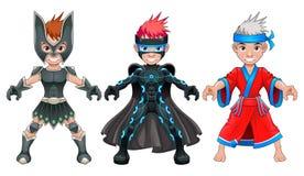 Giovani supereroi e guerrieri dell'avatar Fotografia Stock Libera da Diritti