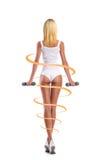 Giovani, teste di legno sportive ed adatte della tenuta della ragazza isolate su bianco Fotografia Stock Libera da Diritti