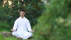 Giovani uomini latini in abbigliamento bianco che fa meditazione nel parco video d archivio