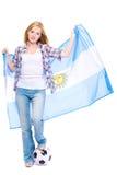 Giovani ventilatore di calcio, bandierina dell'argentina e sfera femminili Fotografia Stock
