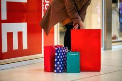 Giovani woman's e sacchetti della spesa variopinti Immagini Stock