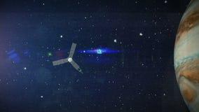 Giove, animazione, astronomia, atmosfera, fondo, nuvole, luce, luna, muoventesi, NASA, nebulosa, orbita, orbitante, spazio cosmic illustrazione di stock