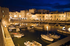 Giovinazzo touristic port by night. Apulia. Stock Photography