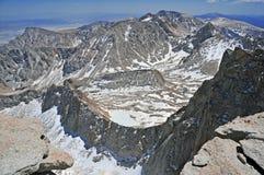 Gipfel-Ansicht, vom Mount Whitney, Kalifornien stockbild