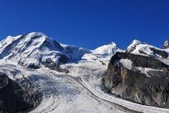 Gipfel der Fußrolle, des Pollux und des Liskamm Lizenzfreie Stockbilder