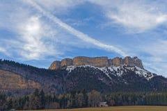 Gipfel und Klippen Chamechaude stockfotos
