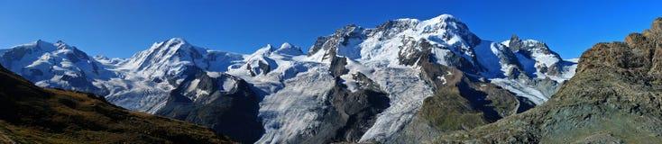 Gipfel von Monte Rosa (gelassen), Liskamm, Fußrolle Stockbild