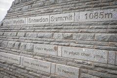 Gipfelzeichen Mt Snowdon Stockfotos