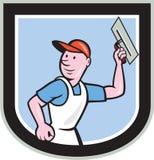 Gipser-Masonry Worker Shield-Karikatur Lizenzfreie Stockfotografie