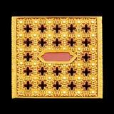 Gipspleister gouden verf in tempel, Thailand Royalty-vrije Stock Afbeeldingen