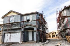 Gipspleisterfase van Nieuwe Huisbouw stock afbeelding