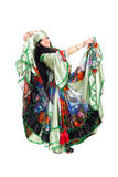 Gipsy dancer. Image of gipsy dancer in traditional dress in motion stock photo
