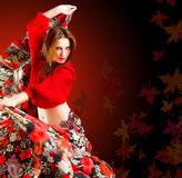 Gipsy dancer. Portrait of a beautiful gypsy dancer in autumn frame Stock Photo