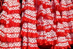 Gipsy dress red spots pattern texture andalusian Royalty Free Stock Photo