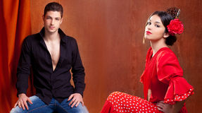 Gipsy flamenco dancer couple from Spain Stock Photos