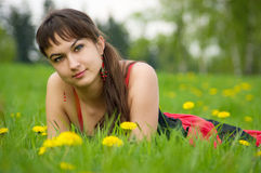 Gipsy girl on the meadow Stock Image
