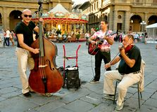 Gipsy street musicians in Italy stock photo