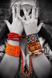 A Gipsy woman with accessories on her hands Stock Photos