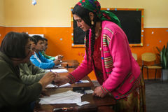 A gipsy woman votes Stock Images