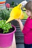 年轻gir浇灌的蓬蒿植物微笑 免版税库存图片