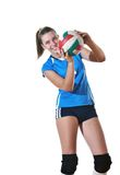 gir играя волейбол Стоковая Фотография