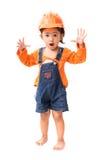 Gir asiático del bebé del ingeniero que juega la acción de la sorpresa Foto de archivo