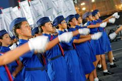 Gir guides marching during Singapore NDP 2009 Royalty Free Stock Photo