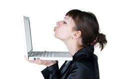 Gir mit Laptop Lizenzfreies Stockbild