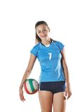 Gir playing volleyball Royalty Free Stock Photo