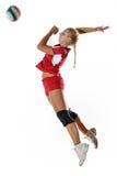 Gir que juega a voleibol Imágenes de archivo libres de regalías