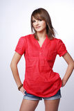 Gir in a red shirt. Stock Images
