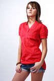 Gir in a red shirt. Royalty Free Stock Images