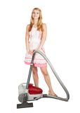 Gir with vacuum cleaner Stock Photos