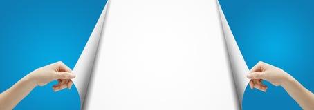 Gira a página azul Imagens de Stock Royalty Free