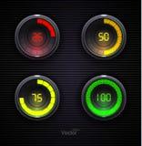 Giradores coloridos da carga Barra do fazendo download da Web do progresso do Preloader Fotos de Stock