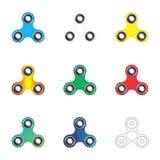 Giradores da inquietação da mão ajustados Brinquedos coloridos do girador da mão isolados sobre Foto de Stock