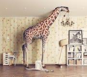 Giraf in de woonkamer Royalty-vrije Stock Afbeeldingen