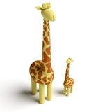 Giraf en babygiraf Stock Foto's