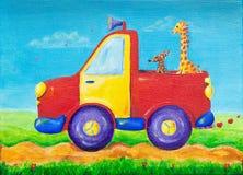 Giraf en hond die op een rode oogstvrachtwagen berijden Royalty-vrije Stock Fotografie
