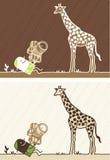 Giraf gekleurd beeldverhaal Stock Foto's