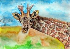 Giraf Het schilderen Naïef art Abstract art Het schilderen gouache, kleurenpotlood op papier stock illustratie