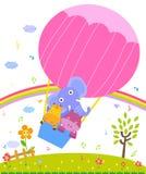 Giraf, hippo en olifant in kleurrijke hete luchtballon Royalty-vrije Stock Afbeelding