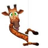 Giraf met een lege raad Stock Afbeeldingen