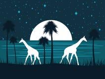 Giraf op de kust bij nacht met een volle maan Palmen op het strand nacht sterrige hemel Vector royalty-vrije illustratie
