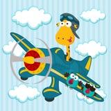 Giraf op een vliegtuig Stock Foto's