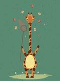 Girafa bonito com o desenho do vetor do ringnet ilustração stock