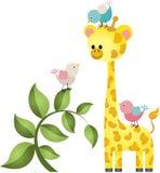 Girafa bonito com três pássaros Imagens de Stock