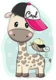 Girafa bonito dos desenhos animados em um tampão com um pássaro ilustração royalty free
