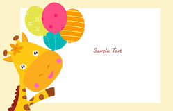 Girafa bonito e balão Fotografia de Stock Royalty Free